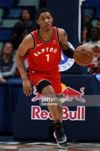 Patrick McCaw of the Toronto Raptors dribbles the ball down court during the second half of a game against the New Orleans Pelicans at the Smoothie...