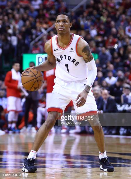 Patrick McCaw of the Toronto Raptors dribbles the ball during the second half of an NBA game against the Orlando Magic at Scotiabank Arena on...