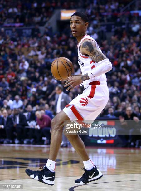 Patrick McCaw of the Toronto Raptors dribbles the ball during the first half of an NBA game against the Orlando Magic at Scotiabank Arena on February...