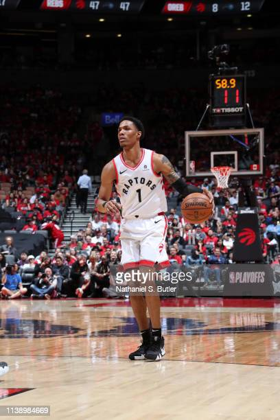 Patrick McCaw of the Toronto Raptors handles the ball against the Orlando Magic during Game Five of Round One of the 2019 NBA Playoffs on April 23...