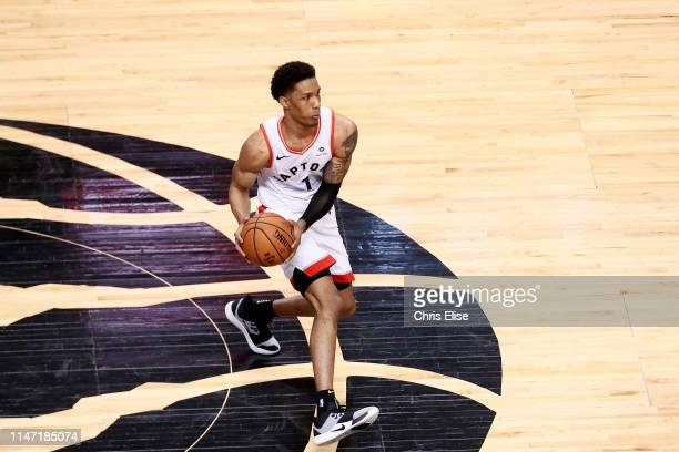 Patrick McCaw of the Toronto Raptors handles the ball against the Golden State Warriors during Game One of the NBA Finals on May 30 2019 at...
