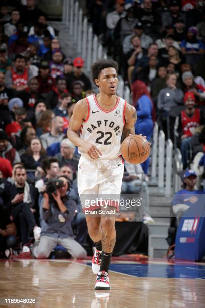 Patrick McCaw of the Toronto Raptors handles the ball against the Detroit Pistons on December 18 2019 at Little Caesars Arena in Detroit Michigan...