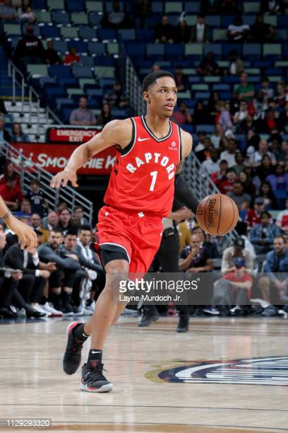 Patrick McCaw of the Toronto Raptors handles the ball during the game against the New Orleans Pelicans on March 9 2019 at the Smoothie King Center in...