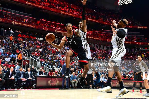 Patrick McCaw of the Toronto Raptors passes the ball against the Atlanta Hawkson February 7 2019 at State Farm Arena in Atlanta Georgia NOTE TO USER...