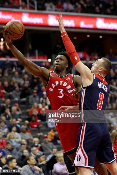 Patrick McCaw of the Toronto Raptors puts up a shot in front of Sam Dekker of the Washington Wizards in the second half at Capital One Arena on...