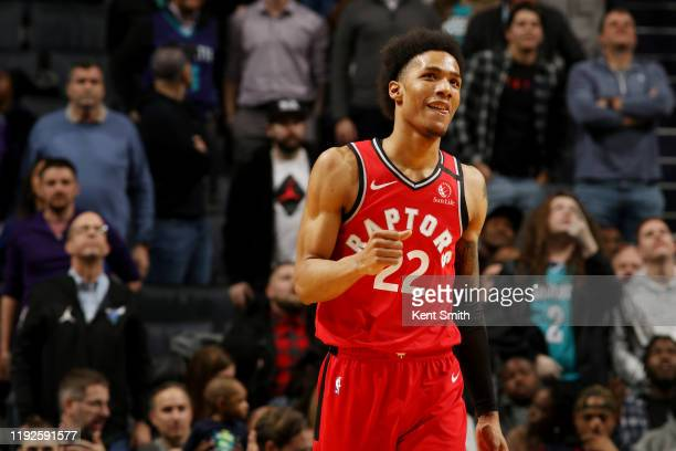 Patrick McCaw of the Toronto Raptors reacts during the game against the Charlotte Hornets on January 8 2020 at Spectrum Center in Charlotte North...