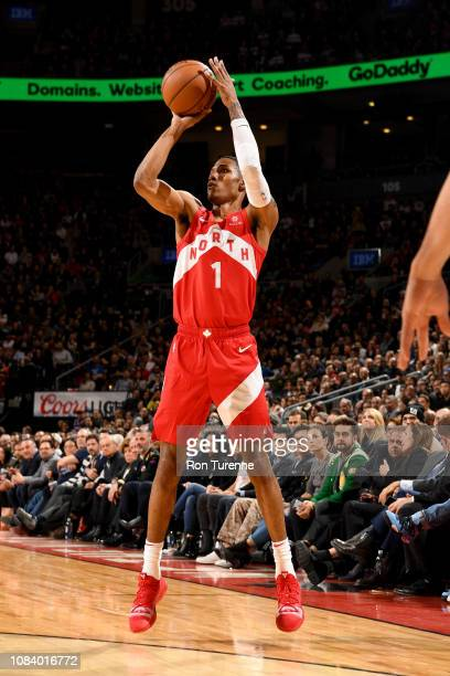 Patrick McCaw of the Toronto Raptors shoots a three point basket during the game against the Phoenix Suns on January 17 2019 at the Scotiabank Arena...