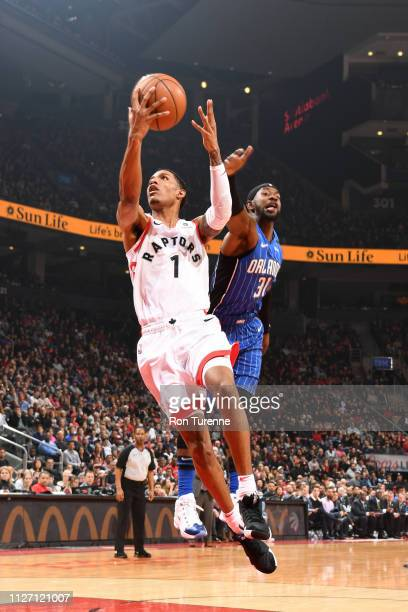 Patrick McCaw of the Toronto Raptors shoots the ball against the Orlando Magic on February 24 2019 at the Scotiabank Arena in Toronto Ontario Canada...