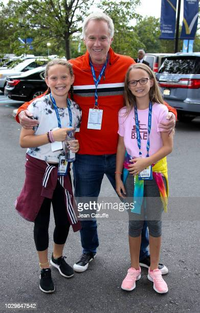 Patrick McEnroe and his daughters attend the women's final on day 13 of the 2018 tennis US Open on Arthur Ashe stadium at the USTA Billie Jean King...