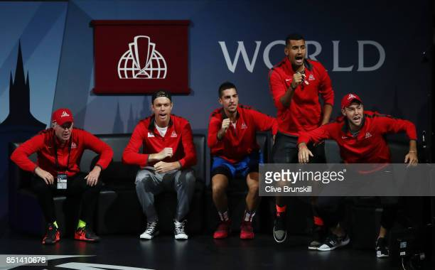 Patrick Mcenroe Sam Querrey Thanasi Kokkinakis Nick Kyrgios and Jack Sock of Team World celebrate as Dominic Thiem of Team Europe plays his singles...