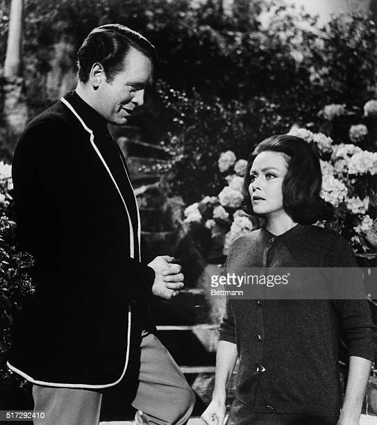 Patrick McGoohan and Nadia Gray in a scene from the TV series The Prisoner in the episode The Chimes of Big Ben McGoohan created and produced the...