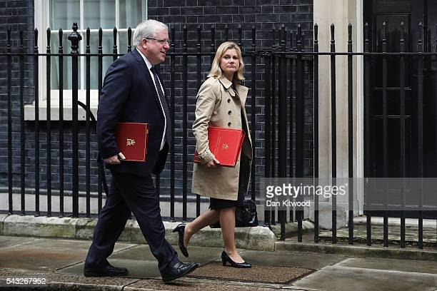 Patrick McLoughlin Secretary of State for Transport and Justine Greening Secretary of State for International Development arrives for a cabinet...