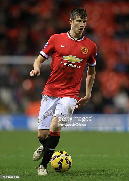 Patrick McNair of Man Utd in action during the Barclays U21 Premier League match between Manchester United and Liverpool at Leigh Sports Village on...