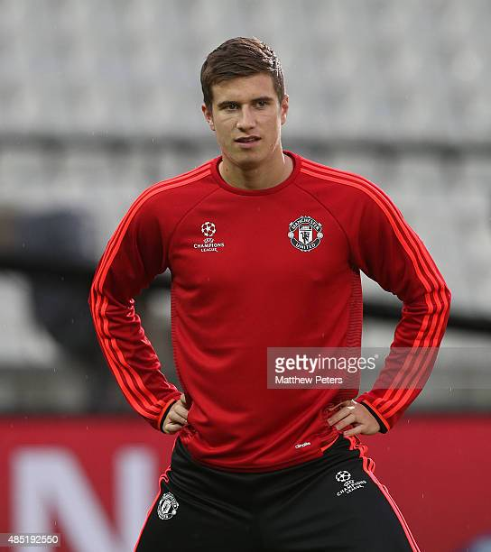 Patrick McNair of Manchester United in action during a first team training session ahead of their UEFA Champions League playoff second leg match...