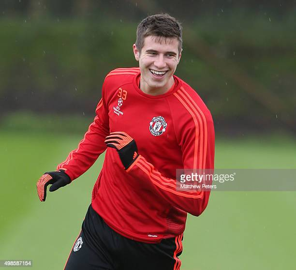 Patrick McNair of Manchester United in action during a first team training session at Aon Training Complex on November 24 2015 in Manchester England