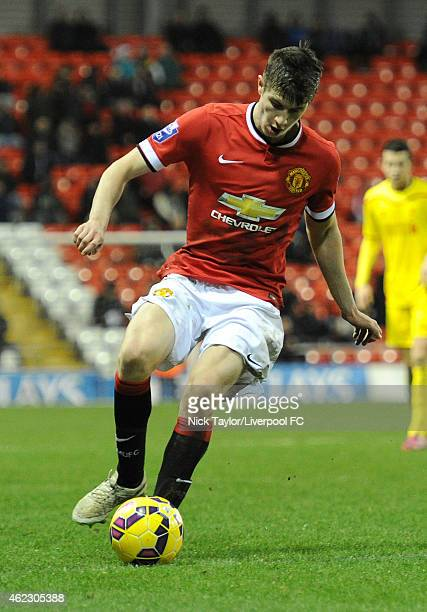 Patrick McNair of Manchester United in action during the Barclays U21 Premier League match between Manchester United and Liverpool at Leigh Sports...