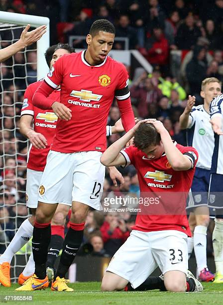 Patrick McNair of Manchester United reacts to missing a chance during the Barclays Premier League match between Manchester United and West Bromwich...