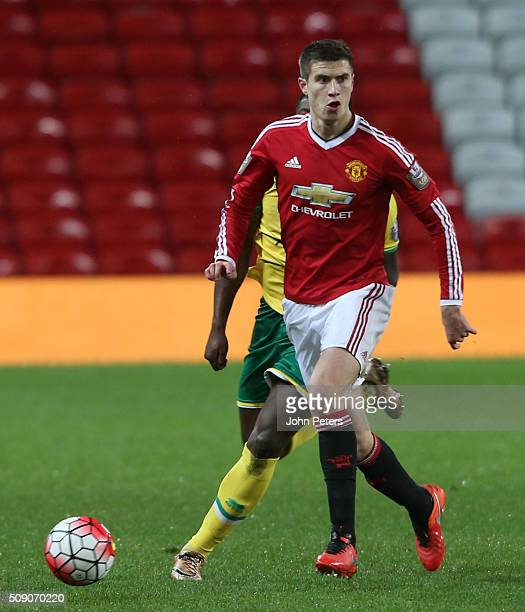 Patrick McNair of Manchester United U21s in action during the U21 Premier League match between Manchester United U21s and Norwich City U21s at Old...