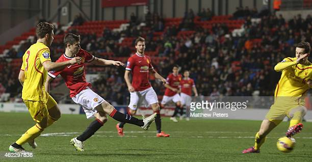Patrick McNair of Manchester United U21s scores their second goal during the Barclays U21 Premier League match between Manchester United and...
