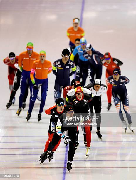 Patrick Meekof USA leads the pack in the Mass Start Men Division A race on the final day of the Essent ISU World Cup Speed Skating at Thialf Ice...