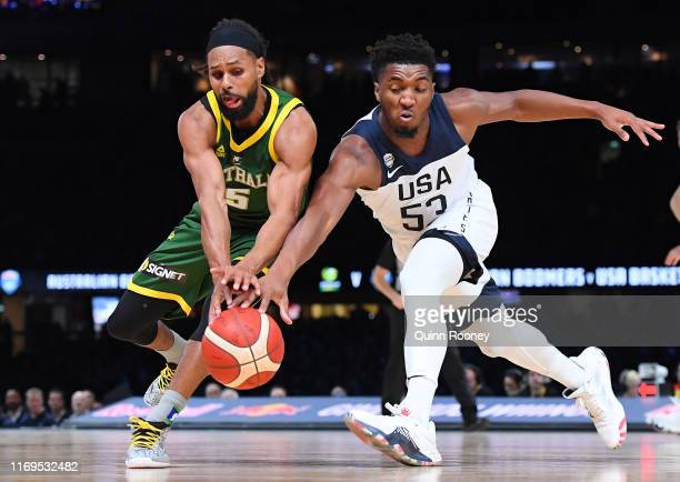 Patrick Mills of the Boomers and Donovan Mitchell of the USA compete for the ball during the International Basketball Friendly match between the...