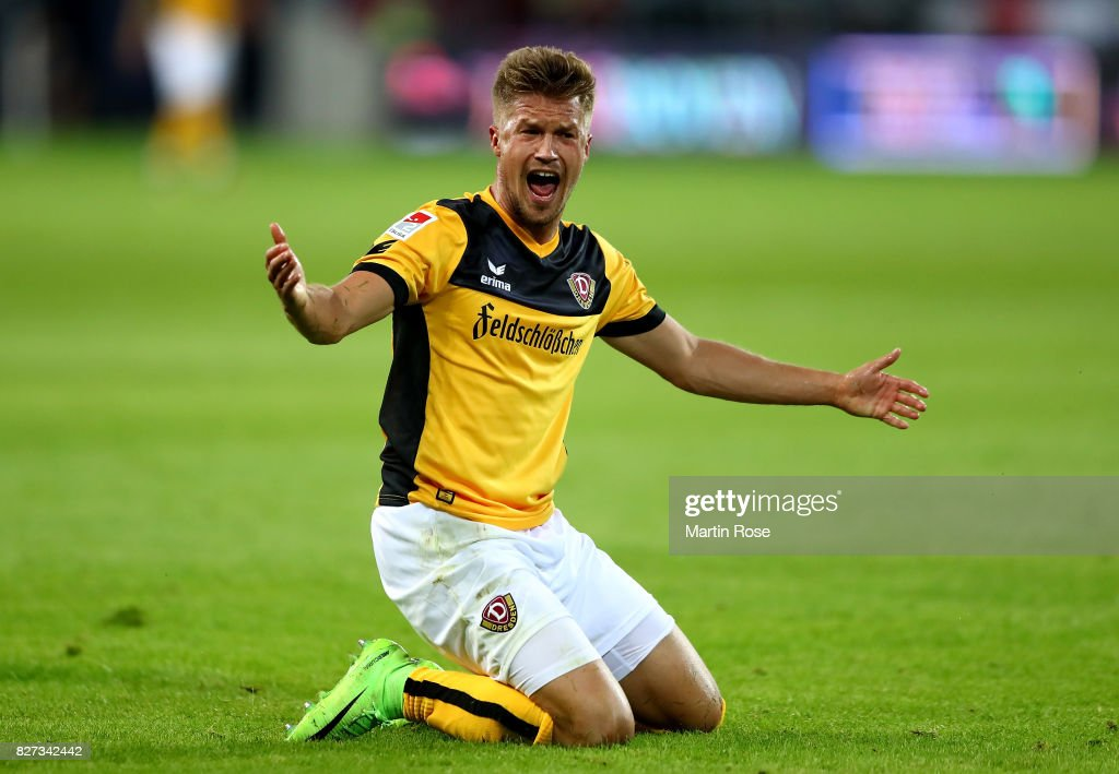 Patrick Moeschl of Dresden reacts during the Second Bundesliga match between FC St. Pauli and SG Dynamo Dresden at Millerntor Stadium on August 7, 2017 in Hamburg, Germany.