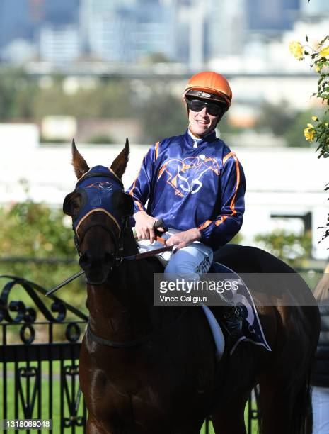 Patrick Moloney riding Declares War after winning Race 4, the Australian Racing Hall Of Fame Trophy, during Melbourne Racing at Flemington Racecourse...