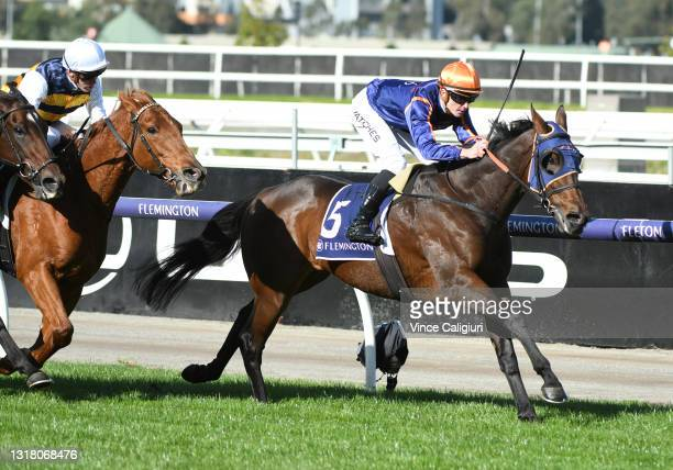 Patrick Moloney riding Declares War winning Race 4, the Australian Racing Hall Of Fame Trophy, during Melbourne Racing at Flemington Racecourse on...