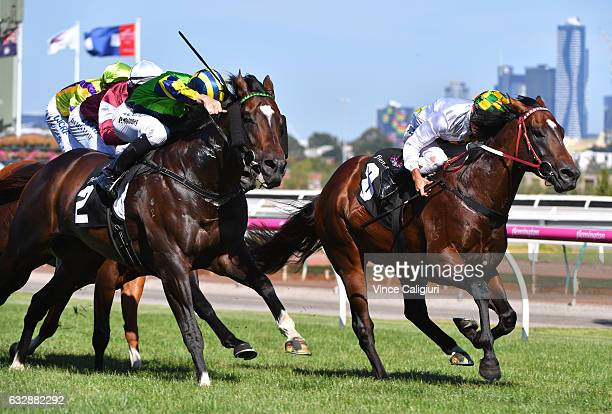 Patrick Moloney riding Tivaci defeats Damien Oliver riding El Divino in Race 7 Kensington Stakes during Melbourne Racing at Flemington Racecourse on...