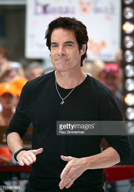 Patrick Monahan of the band Train perform on NBC's 'Today' at Rockefeller Plaza on July 26 2013 in New York New York