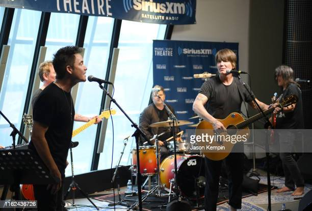 Patrick Monahan of Train and John Rzeznik of the Goo Goo Dolls perform at Sirius XM studios on July 16 2019 in Nashville Tennessee