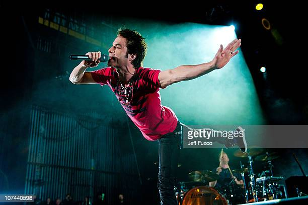 Patrick Monahan of Train performs at the Q102 Jingle Ball at the Susquehanna Bank Center on December 8 2010 in Camden New Jersey