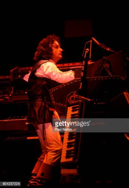Patrick Moraz of the Moody Blues performing at the Poplar Creek Music Theater in Hoffman Estates Illinois July 18 1981
