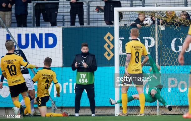 Patrick Mortensen of AGF Aarhus scores the 10 goal against Goalkeeper Matej Delac of AC Horsens during the Danish Superliga match between AC Horsens...