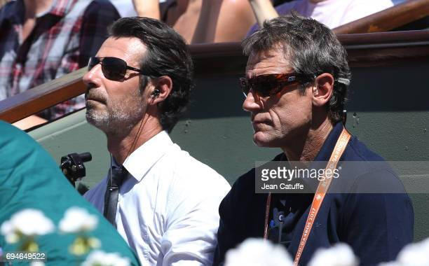 Patrick Mouratoglou and Mats Wilander comment for Eurosport the women's final on day 14 of the 2017 French Open second Grand Slam of the season at...