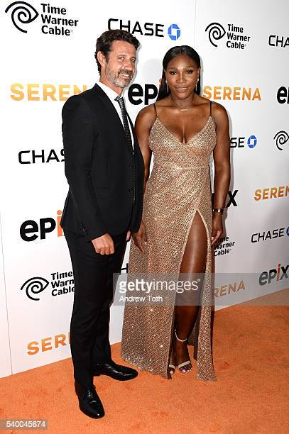 Patrick Mouratoglou and Serena Williams attend the premiere of EPIX original documentary 'Serena' at SVA Theater on June 13 2016 in New York City