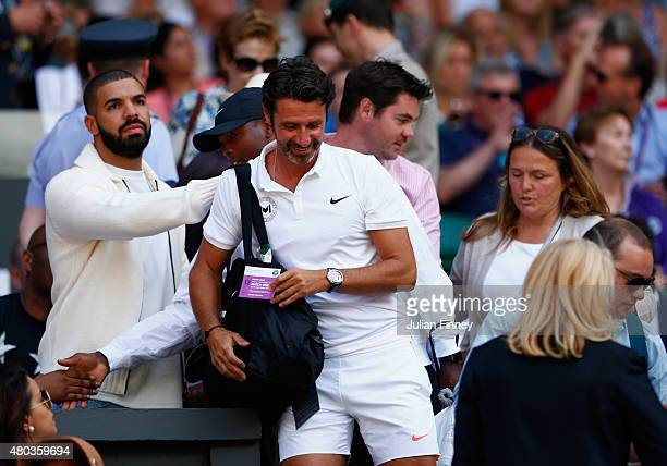 Patrick Mouratoglou attends day twelve of the Wimbledon Lawn Tennis Championships at the All England Lawn Tennis and Croquet Club on July 11 2015 in...
