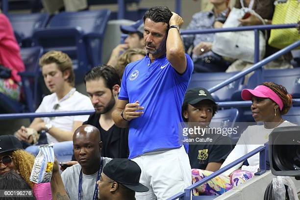 Patrick Mouratoglou coach of Serena Williams attends her match during day 10 of the 2016 US Open at USTA Billie Jean King National Tennis Center on...