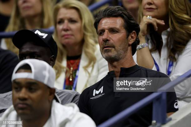 Patrick Mouratoglou coach of Serena Williams looks on during the Women's Singles first round match against Maria Sharapova of Russia during day one...