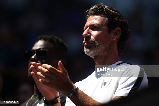 Patrick Mouratoglou coach of Serena Williams of the United States watches her quarter final match against Karolina Pliskova of Czech Republic during...