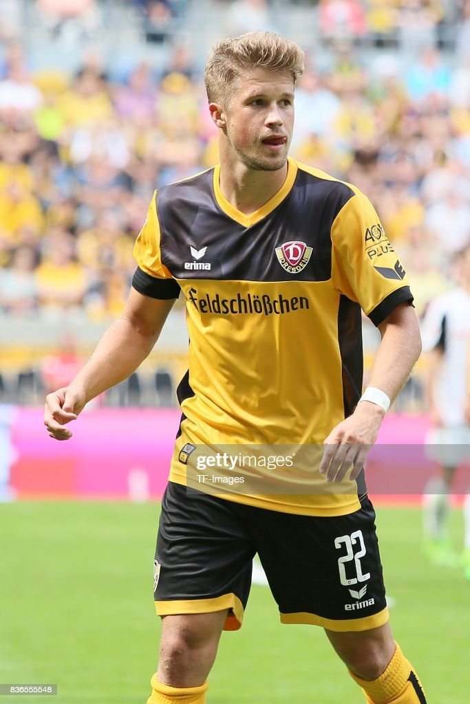 Patrick Möschl of Dreden looks on during the Second Bundesliga match between Dynamo Dresden and SV Sandhausen at DDV-Stadion on August 19, 2017 in Dresden, Germany.