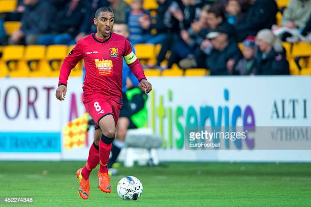 Patrick Mtiliga of FC Nordsjaelland in action during the Superliga football match between FC Nordsjaelland and Aalborg BK in Farum Park Stadium on...