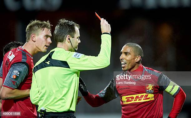 Patrick Mtiliga of FC Nordsjalland receives a red card from Referee Michael Johansen during the Danish Alka Superliga match between Randers FC and FC...