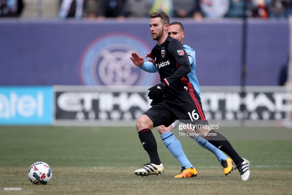 Patrick Mullins #16 of D.C. United in action during the NYCFC Vs D.C. United regular season MLS game at Yankee Stadium on March 12, 2017 in New York City.