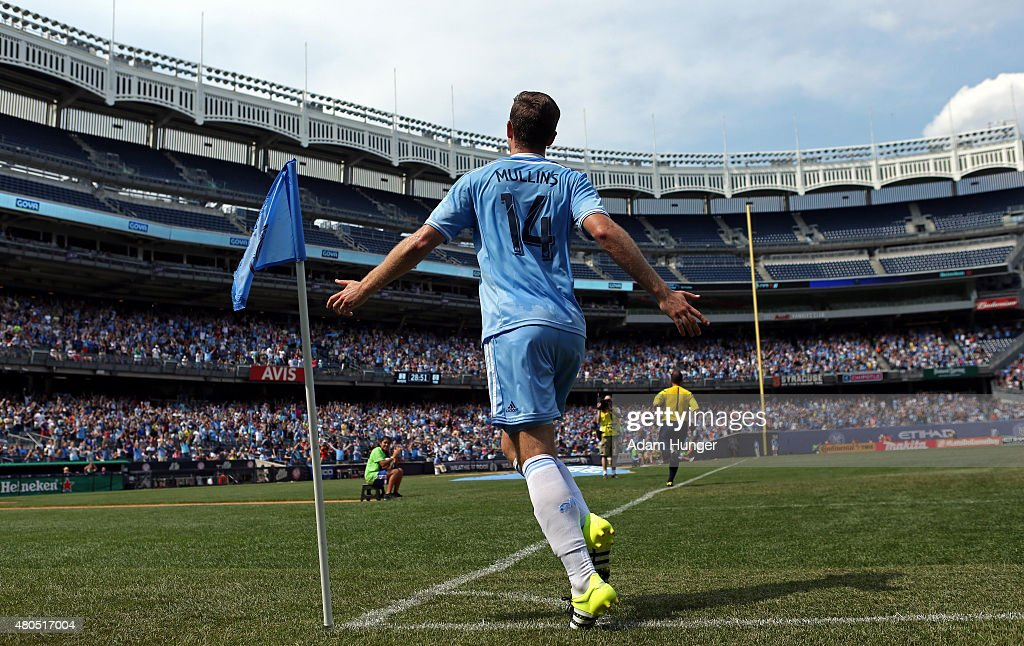 Patrick Mullins #14 of New York City FC celebrates after an own goal by Toronto FC during a soccer game at Yankee Stadium on July 12, 2015 in the Bronx borough of New York City.