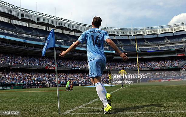 Patrick Mullins of New York City FC celebrates after an own goal by Toronto FC during a soccer game at Yankee Stadium on July 12 2015 in the Bronx...