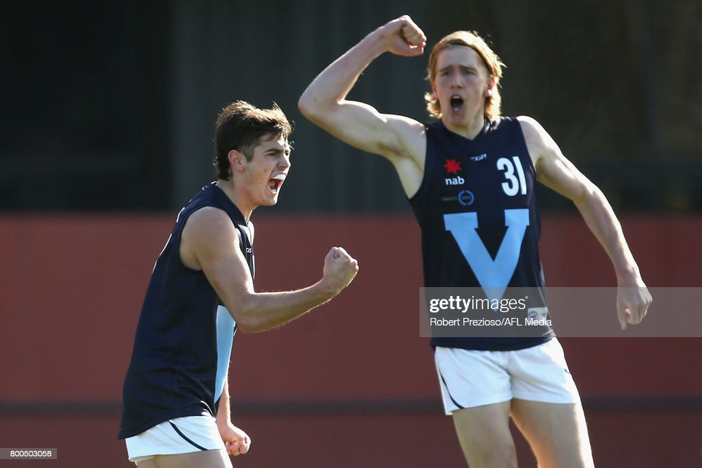 Patrick Naish of Vic Metro celebrates a goal during the U18 Championship match between Vic Metro and Vic Country at Punt Road Oval on June 24, 2017 in Melbourne, Australia.