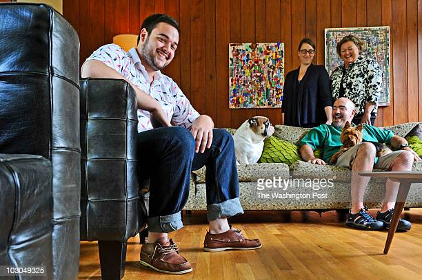 Patrick Naughten left in his family's midcentury house winner of the Post's Mad Men design contest with his sister Martha mom Melissa Talley dad...