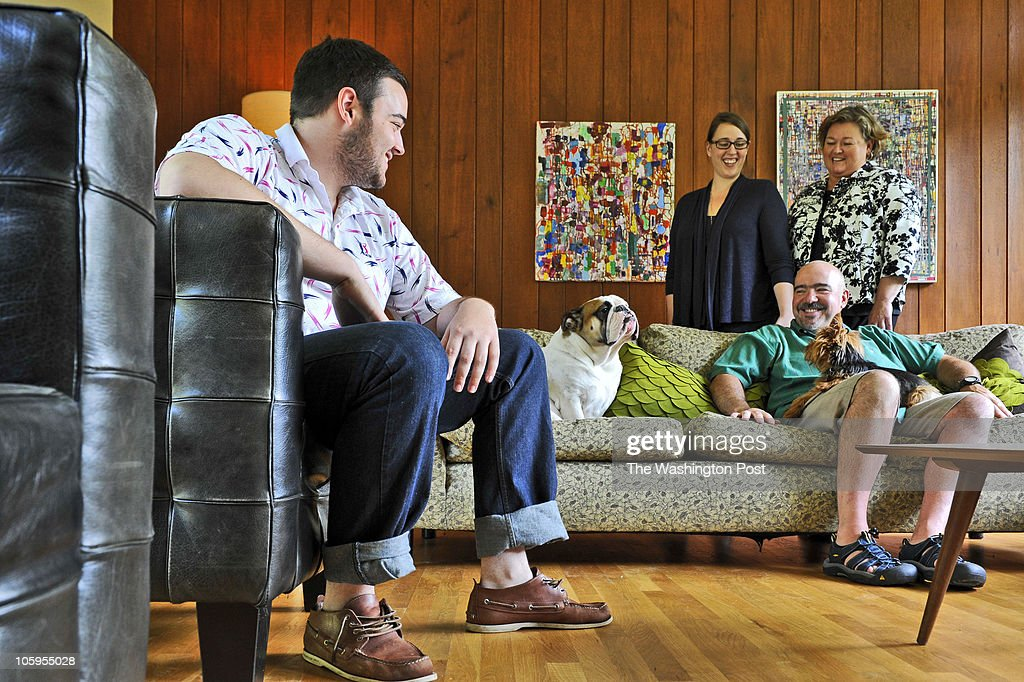 Patrick Naughten, in his family's winning mid-century house, winner of the Post's Mad Men design contest, in Silver Spring, Maryland. : News Photo