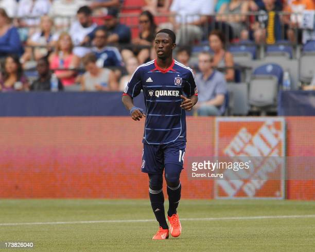 Patrick Nyarko of Chicago Fire in action during an MLS match against the Vancouver Whitecaps at BC Place on July 14 2013 in Vancouver British...
